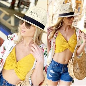 Infinity Raine Tops - Yellow Front Twist Cropped Tank